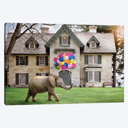 Elephant Party Balloons Canvas Print #KBU29} by Karen Burke Canvas Artwork
