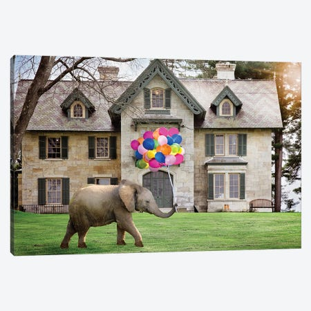 Elephant Party Balloons Canvas Print #KBU29} by Karen Burke Canvas Artwork