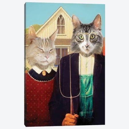American Gothic Cats Canvas Print #KBU2} by Karen Burke Canvas Art