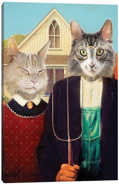 American Gothic Cats Canvas Art Print