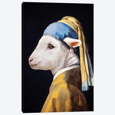 Lamb With The Pearl Earring Canvas Print #KBU39} by Karen Burke Canvas Print