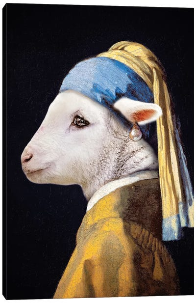 Lamb With The Pearl Earring Canvas Art Print