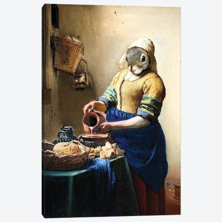 Milkmaid Squirrel Canvas Print #KBU44} by Karen Burke Art Print