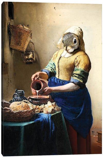 Milkmaid Squirrel Canvas Art Print