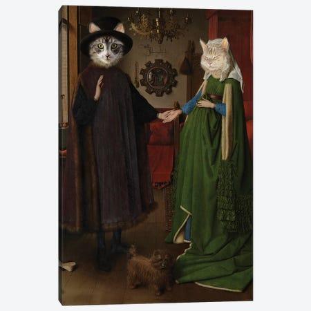 Arnolfini Wedding Cats Canvas Print #KBU4} by Karen Burke Art Print