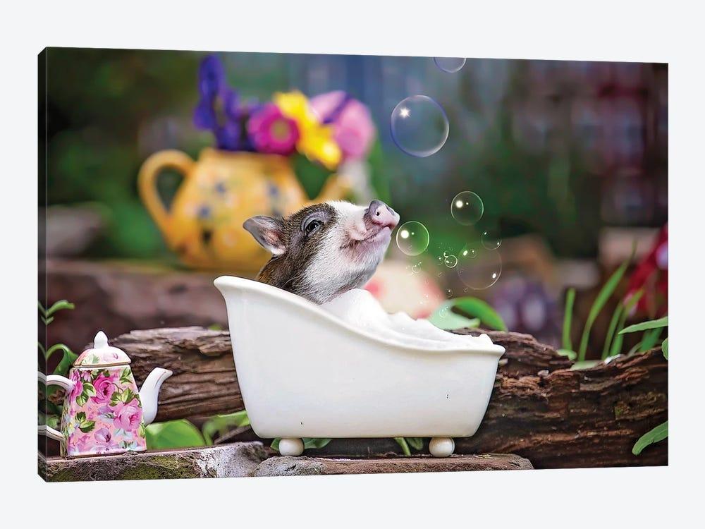 Piglet Bubble Bath by Karen Burke 1-piece Art Print