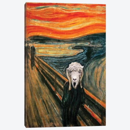 The Scream Lamb Canvas Print #KBU67} by Karen Burke Art Print