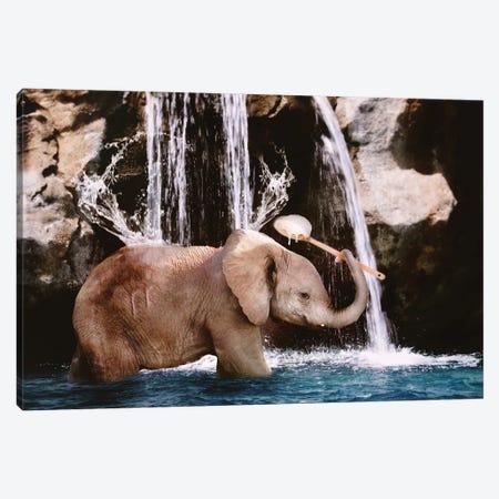 Baby Elephant Bath 3-Piece Canvas #KBU6} by Karen Burke Canvas Print
