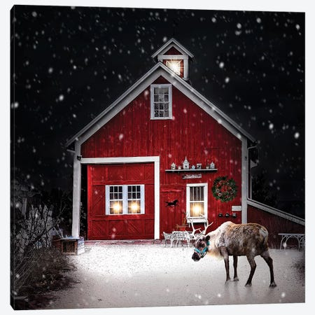 Winter Night Reindeer Canvas Print #KBU79} by Karen Burke Art Print