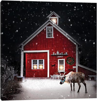 Winter Night Reindeer Canvas Art Print