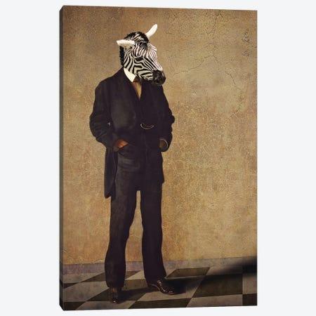 Zebra Thinker Canvas Print #KBU80} by Karen Burke Canvas Artwork