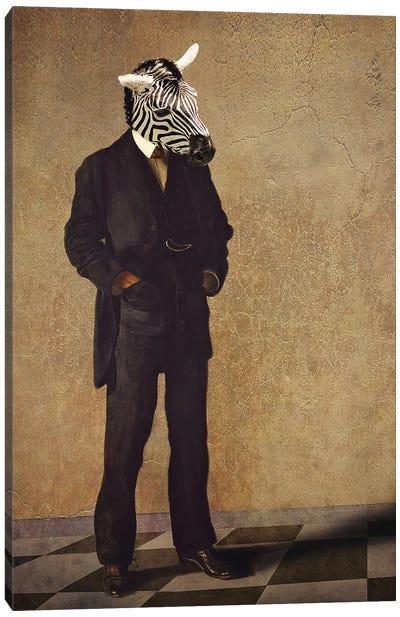 Zebra Thinker Canvas Art Print