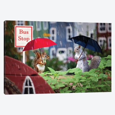 Bus Stop In The Rain Canvas Print #KBU82} by Karen Burke Canvas Artwork