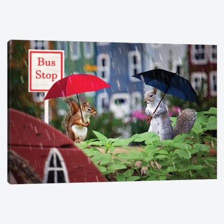 Bus Stop In The Rain Canvas Print #KBU82} by Karen Burke Canvas Artwork