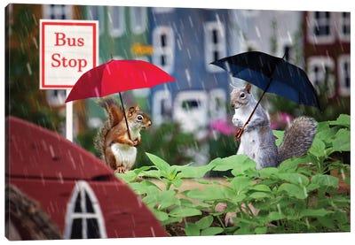 Bus Stop In The Rain Canvas Art Print