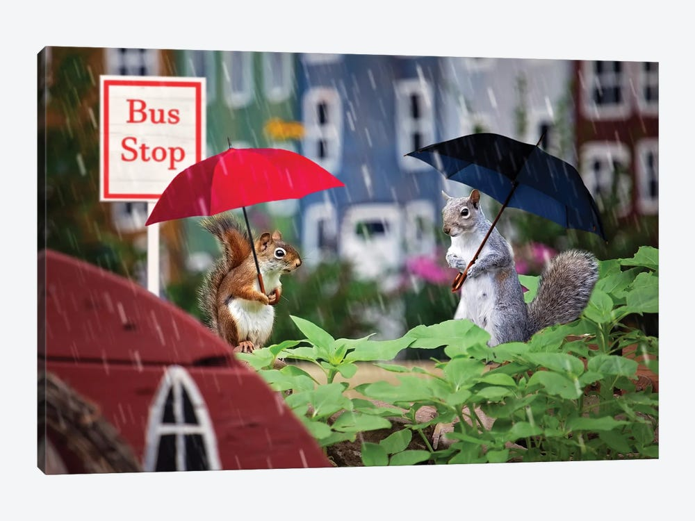 Bus Stop In The Rain by Karen Burke 1-piece Art Print