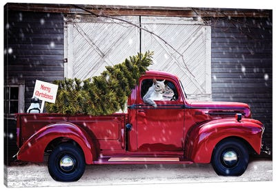 Christmas Tree In Red Ford Truck Canvas Art Print