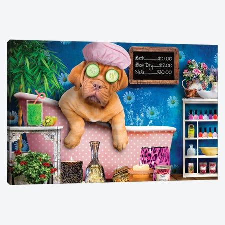 Doggie Day Spa Canvas Print #KBU85} by Karen Burke Art Print