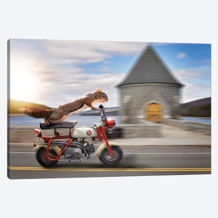 Red Rider Honda Scooter Canvas Print #KBU87} by Karen Burke Art Print