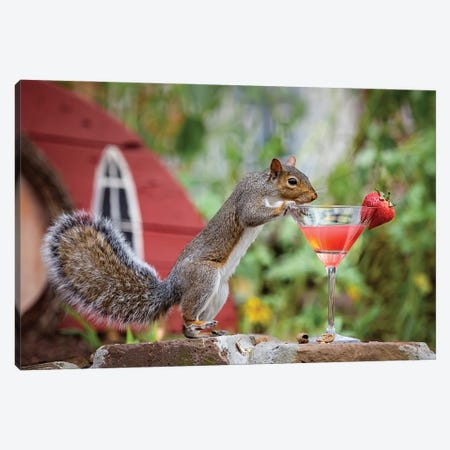 Strawberry Martini Squirrel Canvas Print #KBU95} by Karen Burke Canvas Wall Art