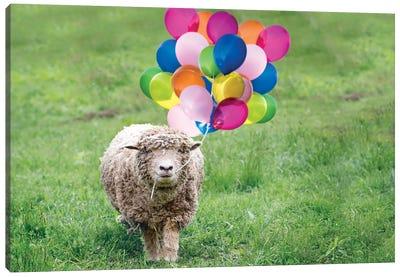 Babydoll Sheep Party Balloons Canvas Art Print
