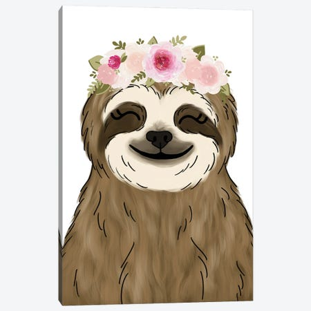 Floral Crown Sloth Canvas Print #KBY103} by Katie Bryant Canvas Art