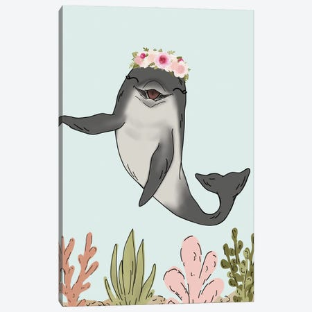 Floral Crown Dolphin Canvas Print #KBY105} by Katie Bryant Canvas Print
