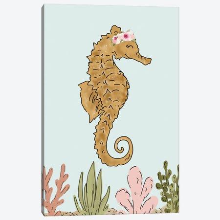 Floral Crown Seahorse Canvas Print #KBY108} by Katie Bryant Canvas Artwork