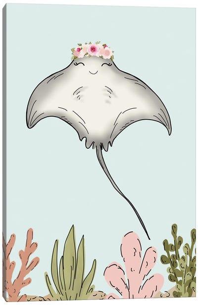 Floral Crown Stingray Canvas Art Print