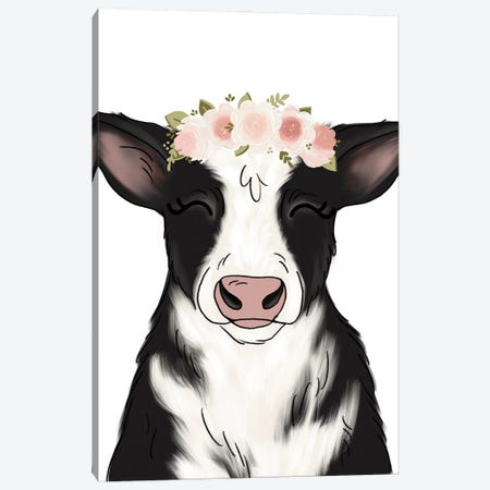 Floral Crown Cow Canvas Print #KBY115} by Katie Bryant Canvas Art