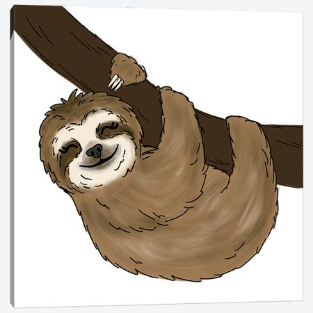 Tree Sloth Canvas Print #KBY116} by Katie Bryant Canvas Art