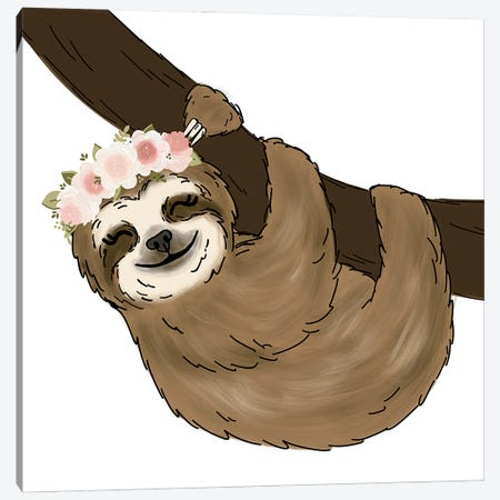Floral Crown Tree Sloth Canvas Print #KBY117} by Katie Bryant Canvas Artwork