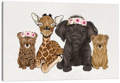 Floral Crown Safari Babies Canvas Art Print