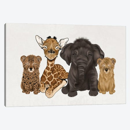 Safari Babies Canvas Print #KBY121} by Katie Bryant Canvas Wall Art