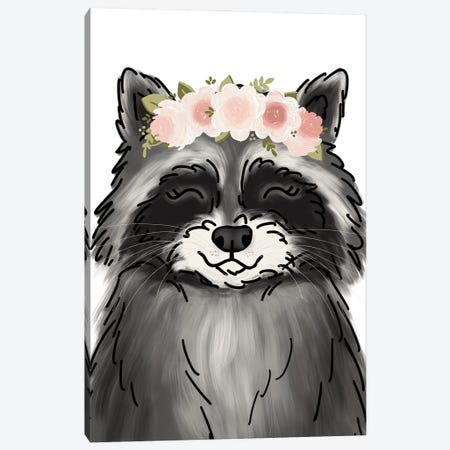 Floral Crown Raccoon Canvas Print #KBY123} by Katie Bryant Canvas Wall Art