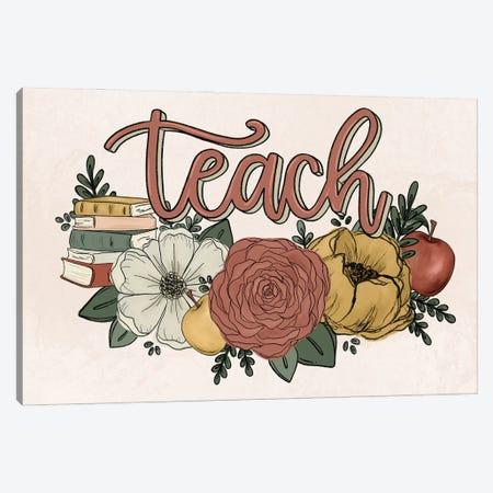Teach Florals Canvas Print #KBY127} by Katie Bryant Art Print