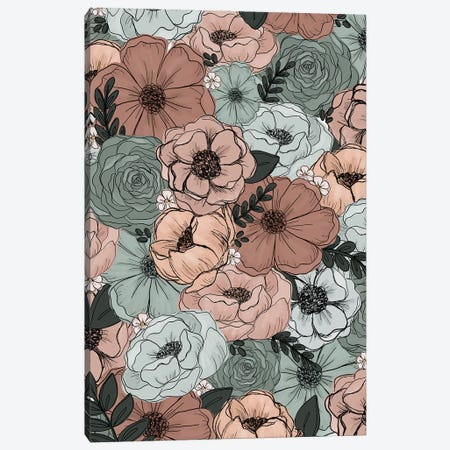 Peachy Mint Florals Canvas Print #KBY129} by Katie Bryant Canvas Artwork