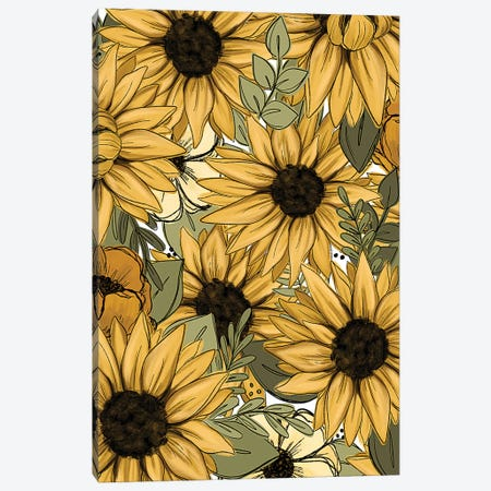 Sunflower Sketched Florals Canvas Print #KBY133} by Katie Bryant Canvas Print