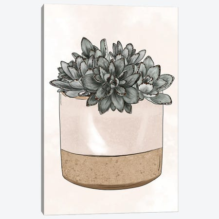 Potted Succulents Canvas Print #KBY141} by Katie Bryant Canvas Wall Art