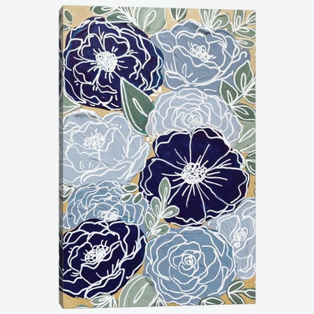Blue Outlined Florals Canvas Print #KBY14} by Katie Bryant Canvas Artwork