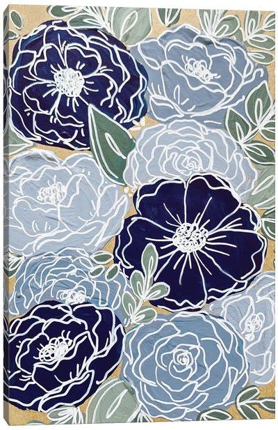Blue Outlined Florals Canvas Art Print