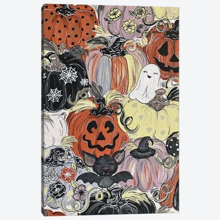 Spooky Pattern Pumpkins Canvas Print #KBY159} by Katie Bryant Art Print