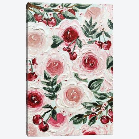 Cherry Florals Canvas Print #KBY15} by Katie Bryant Canvas Artwork