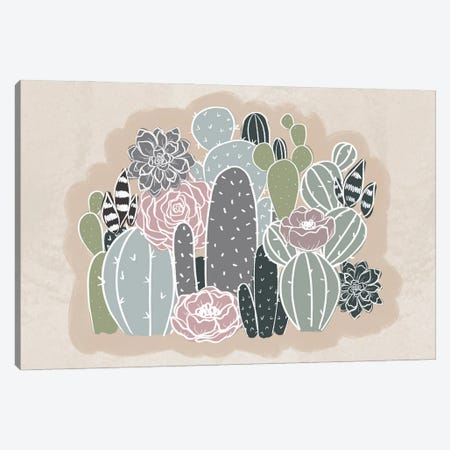 Floral Cactus Family Canvas Print #KBY16} by Katie Bryant Canvas Wall Art