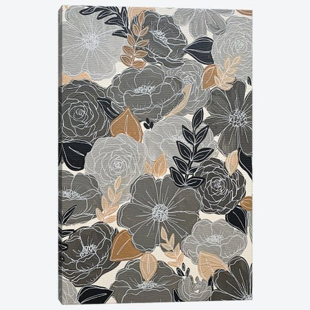 Gray Florals Canvas Print #KBY178} by Katie Bryant Canvas Print