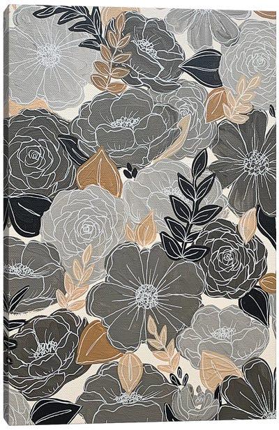 Gray Florals Canvas Art Print