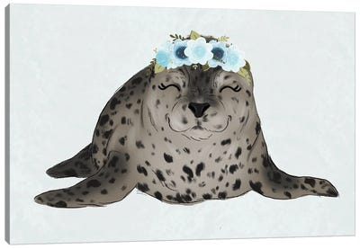 Floral Crown Baby Seal Canvas Art Print