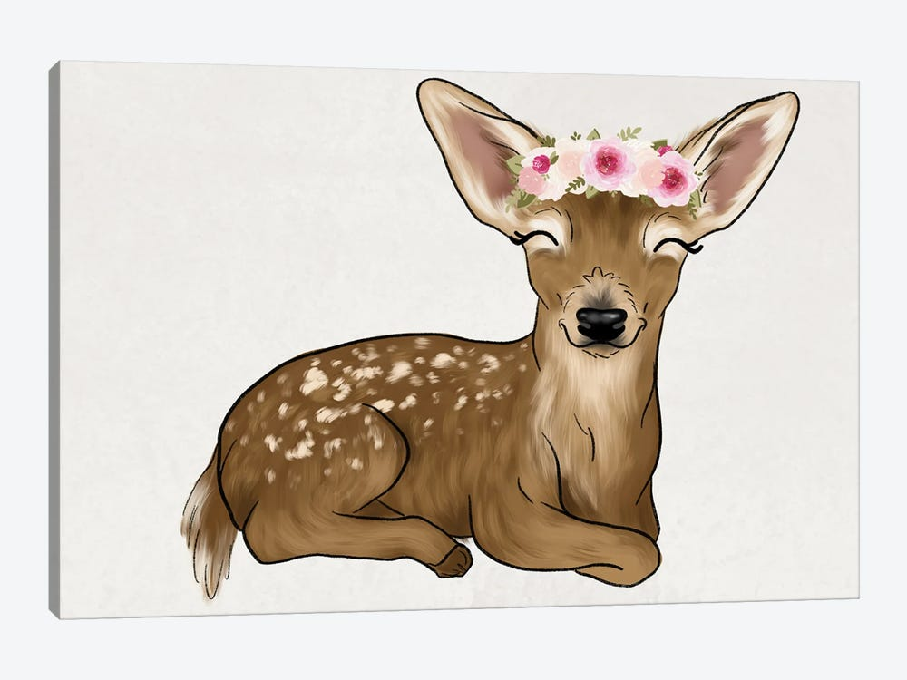 Floral Crown Baby Deer by Katie Bryant 1-piece Canvas Print