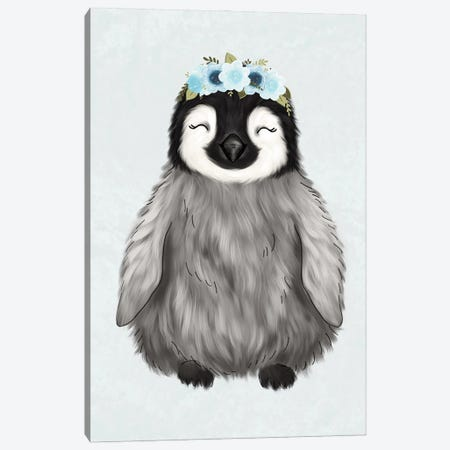 Floral Crown Baby Penguin Canvas Print #KBY21} by Katie Bryant Canvas Wall Art