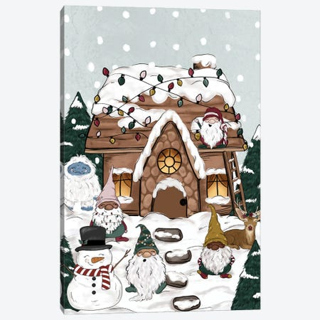 Christmas Cottage Canvas Print #KBY29} by Katie Bryant Canvas Wall Art